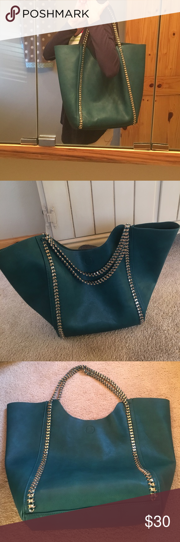 Street Level tote from Stitch Fix This beautiful blue/green tote was purchased from my Stitch Fix box.  Was only used a few times.  Has beautiful chain straps woven through leather.  Comes with a removable smaller pouch perfect for essentials.  It has a magnetic closure to secure the bag.  Very roomy and comfortable bag to wear.  Measures approximately 21 inches across at its widest part, 14 inches high at its widest part and approximately 6 inches wide.  Beautiful pebbles leather tote that…