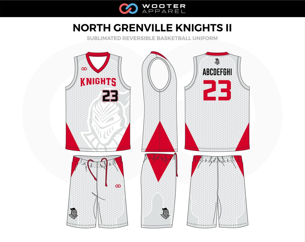 North Grenville Knights Ii Red Grey Red Black Custom Basketball Uniforms Jerseys Basketball Uniforms Design Custom Basketball Uniforms Basketball Uniforms