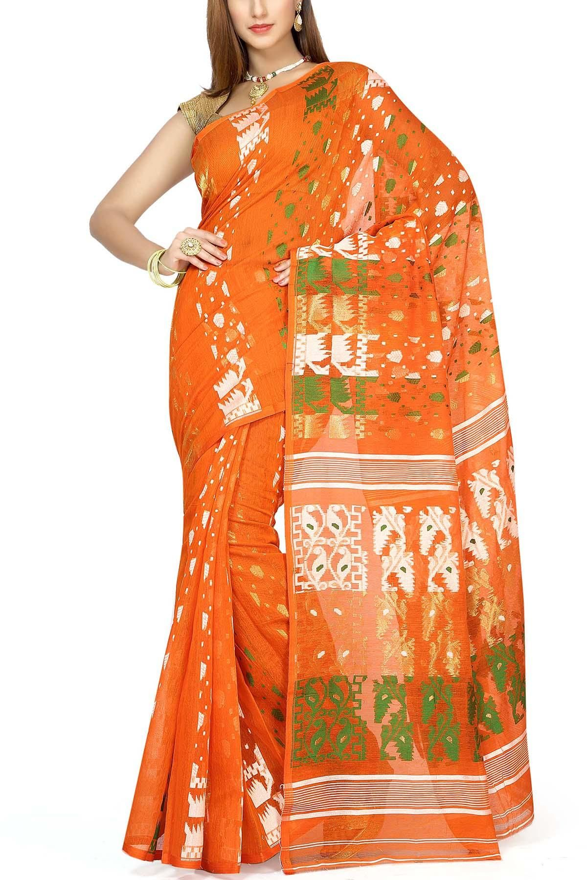 9bd44d13d3dba Giants Orange   Tri-color Dhakai Cotton Jamdani Saree