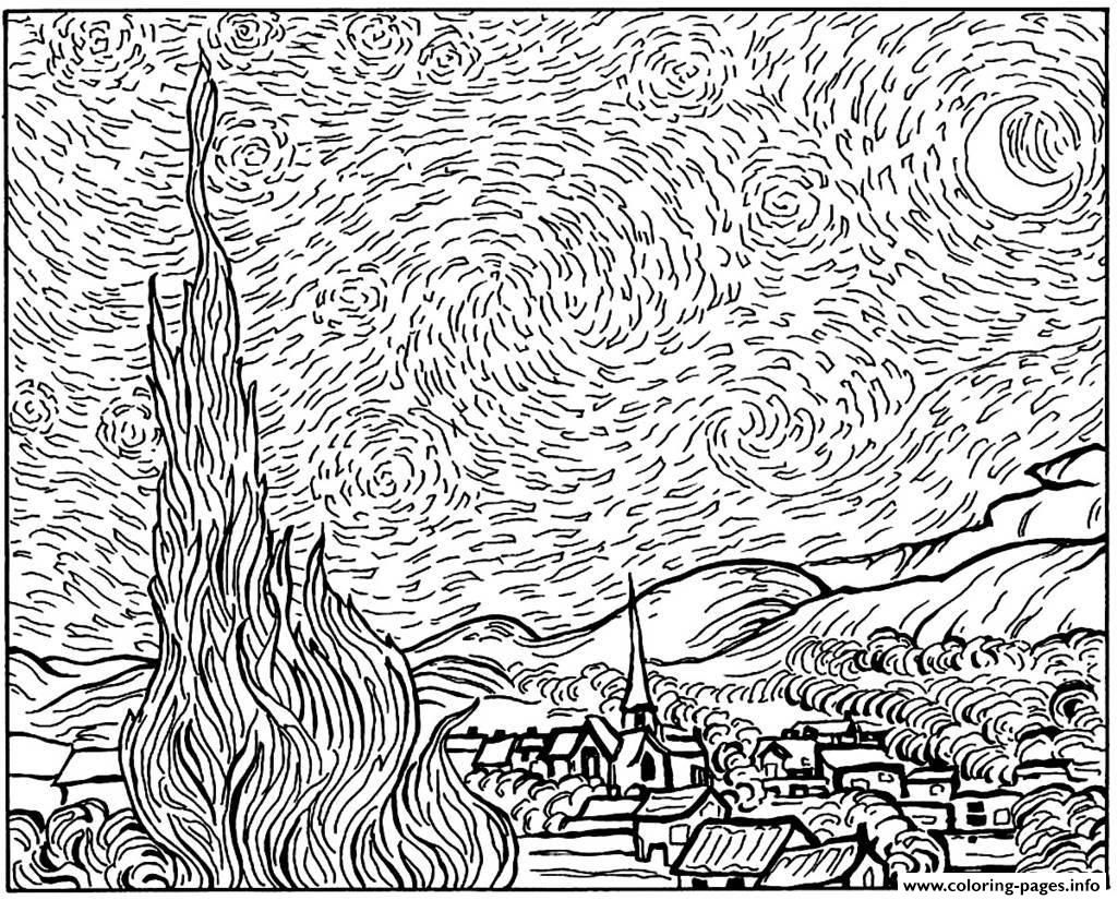 Print Adult Van Gogh Starry Night Coloring Pages Gogh Coloring Pages