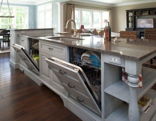 Two Dishwashers Why Not Home Kitchens Kitchen Design Kitchen Island With Sink