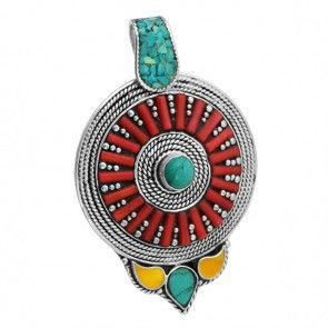 Himalayan Coral, Turquoise and Copal Silver Plated Nepal Pendant