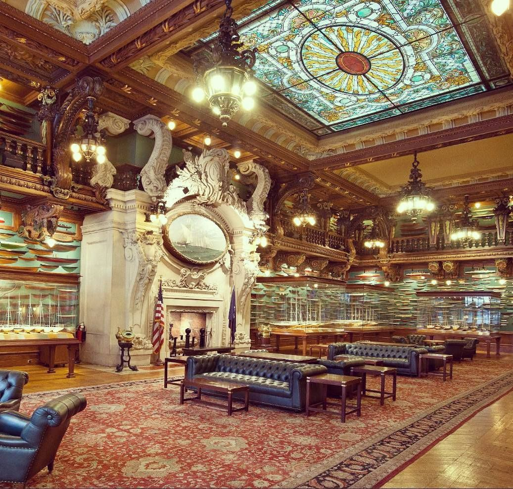 The Impressive Fireplace At The New York Yacht Club Located At 37 West 44th Street In Midtown Manhattan Opened In 1 Midtown Grand Central Terminal Yacht Club
