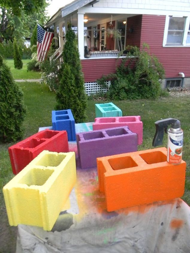 cinder block bench, outdoor furniture, outdoor living, patio, repurposing upcycling, Bring on the CoLoR: