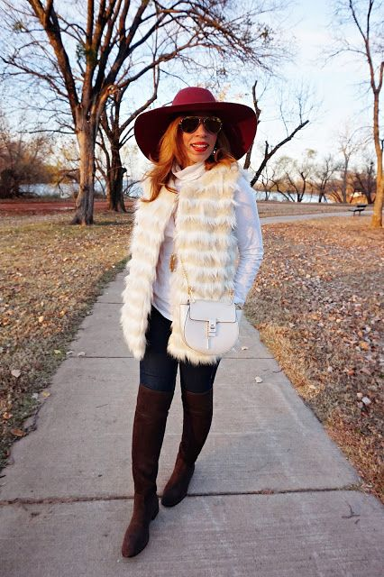 white fur vest, floppy hat, OTK boots, chloe crossbody, look-a-like bag, tissue turtleneck, tory burch over the knee boots, winter fashion, j. crew tissue turtleneck