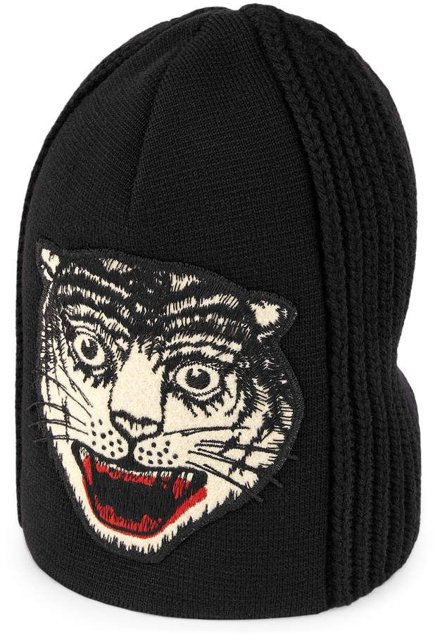 be28112d0de Gucci Wool hat with embroidered tiger head