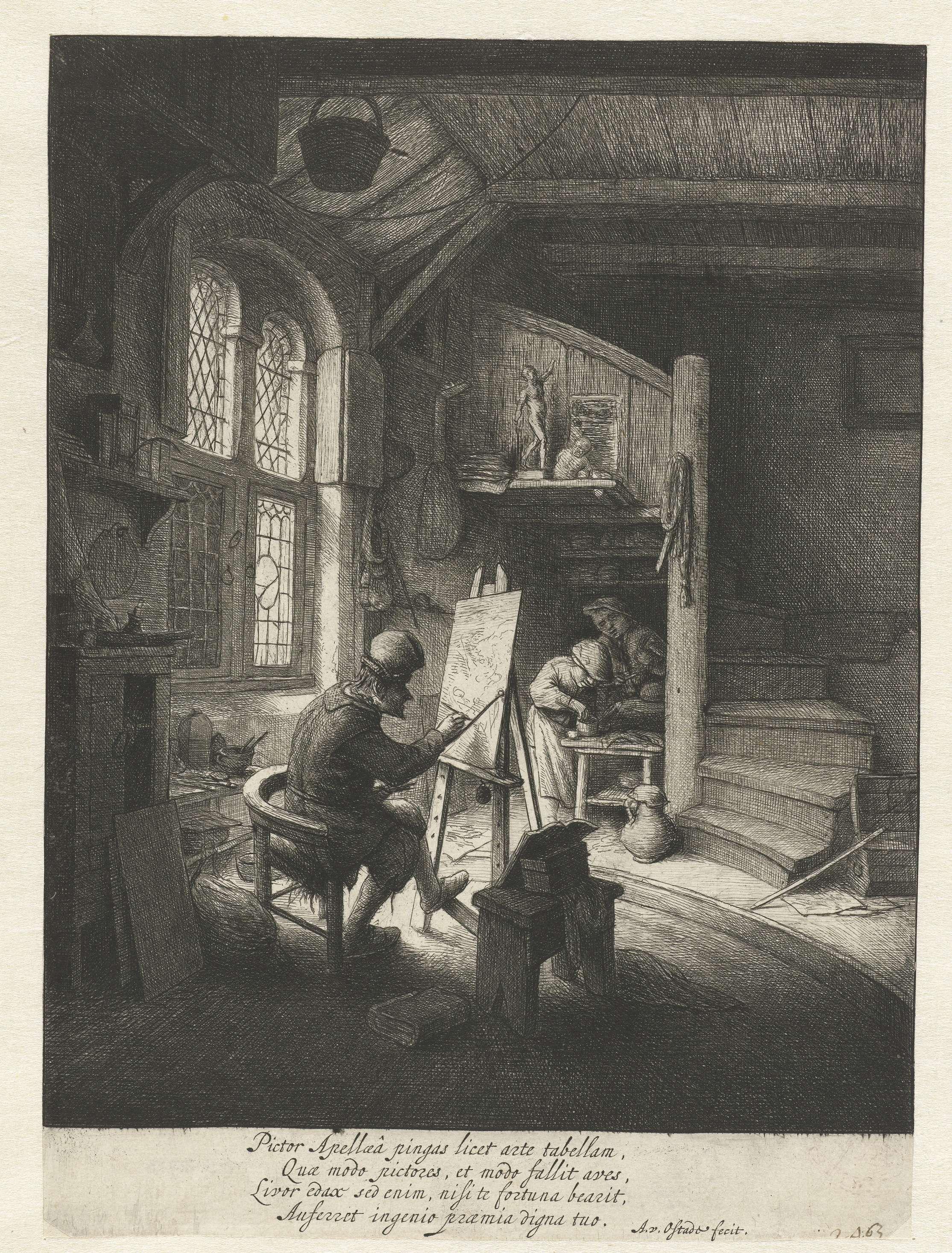 Schilder in zijn atelier, Adriaen van Ostade, 1645 - 1649