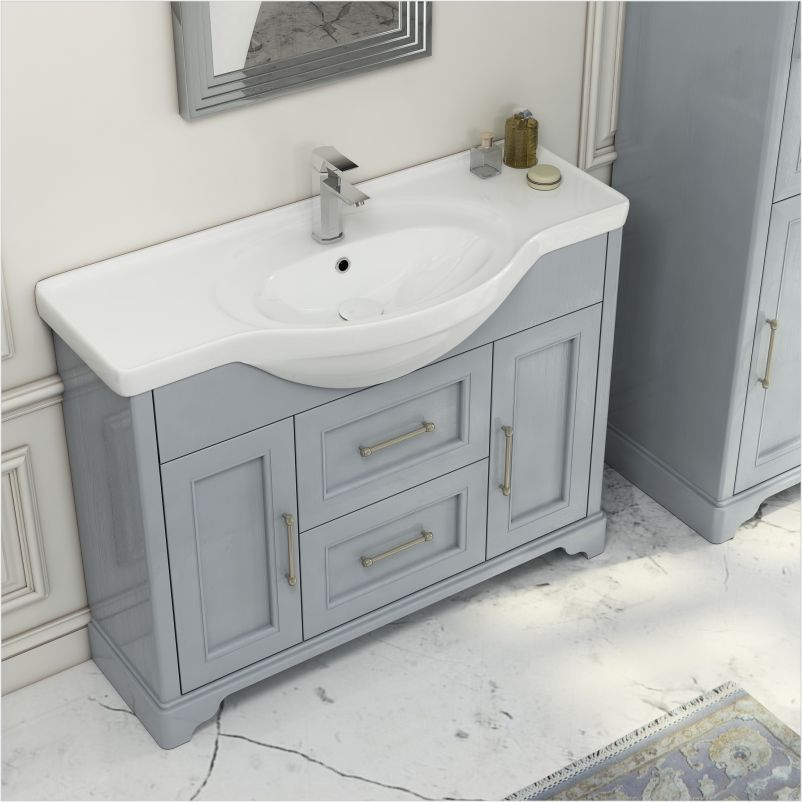 Old England 2 Draw 2 Door 1050 Vanity Unit And Basin Buy Online At Bathroom City Vanity Units Traditional Bathroom Furniture Bathroom Vanity Units Uk