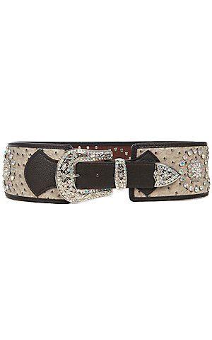 Katydid® Women's Light Grey Ostritch w/ Iridescent Crystals Wide Waist Belt   Cavender's