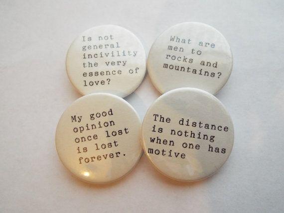 Jane Austen Quote Pin Button Badges x 4 Emma