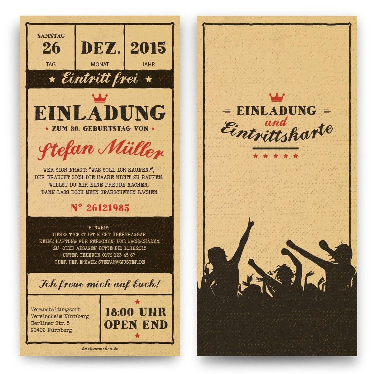 Geburtstagseinladungen Vintage Ticket