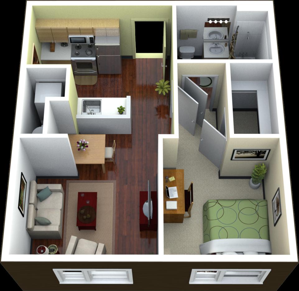 Amazing Apartment Rentals: Amazing Apartment 1 Bedroom Apartments Floor Plan