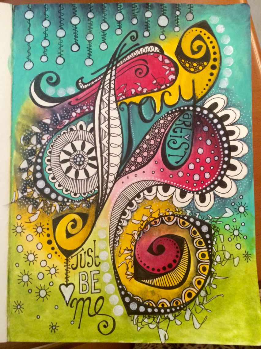 Doodle art journal page - just be me !! #art #acrylic #artjournal #artjournals #artjournaling #artjournalpage #color #colour #doodle #doodles #doodling #decoart #handlettering #journal #letteringdesign #medialine #mixedmedia #mixedmediaart #pen #paint #tombow #tombowmarkers