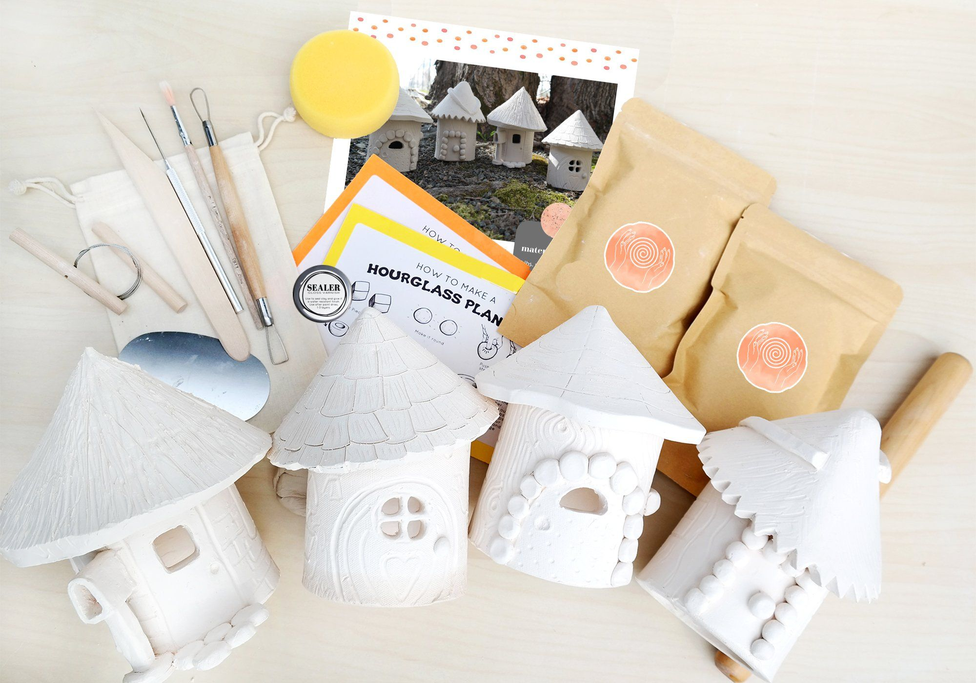 Photo of Family Pottery Kit for 4 – Craft a Fairy House at Home with Air Dry Clay – Kit & Paint Set 1
