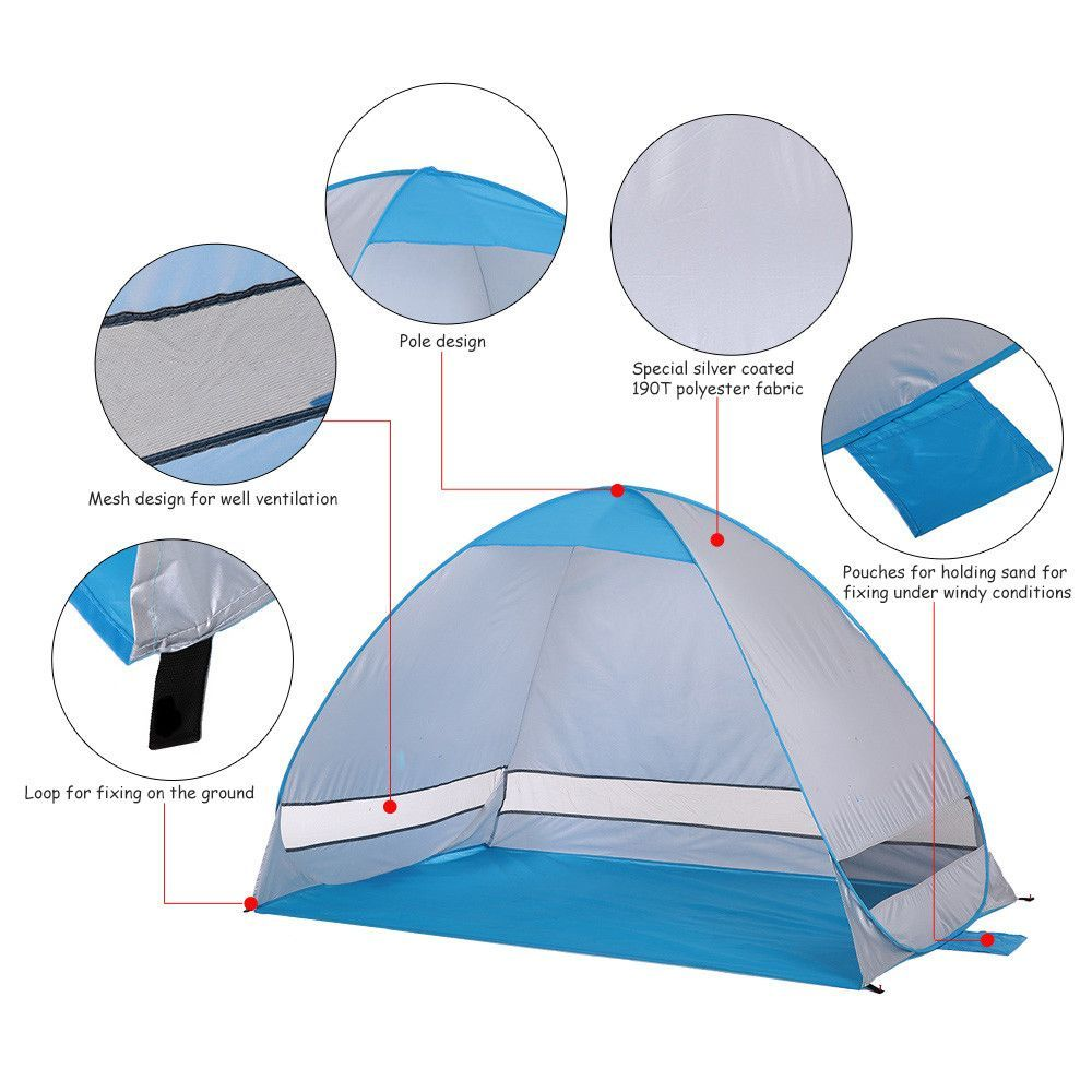 Outdoor Fishing Beach Tent Sunshade 2 Persons Quick