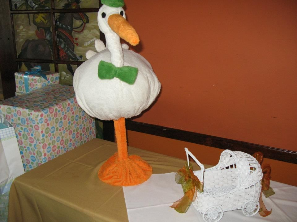 Decor galore custom stork for baby shower wire weighed for Decor galore