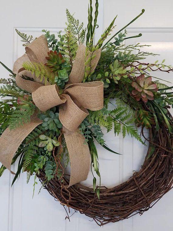 Photo of Corona succulenta con iniziale, ghirlanda di tutti i giorni, ghirlanda estiva, ghirlanda di primavera, tela succulenta Wreat
