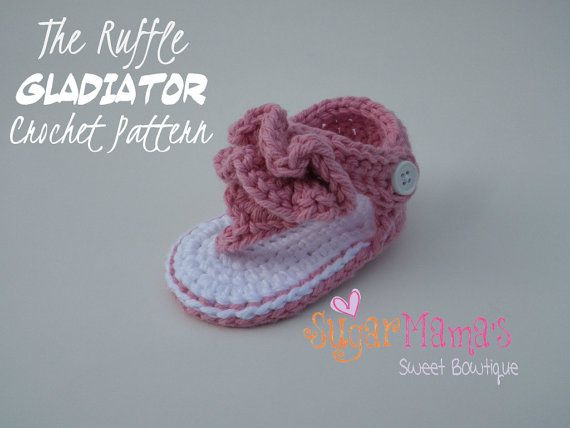 INSTANT Download - Ruffle Gladiator Baby Sandals CROCHET PATTERN Pdf File -  2 Sizes - Permission to sell finished item