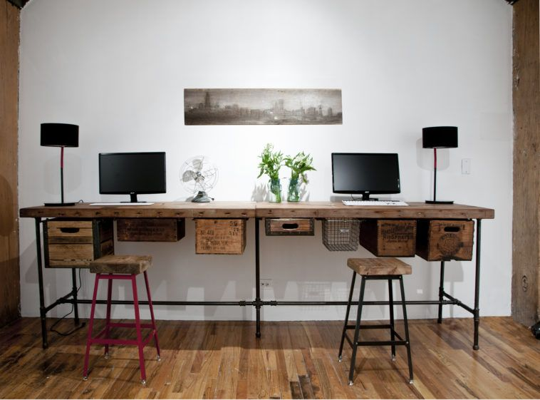 Diy reclaimed wood long computer desk for two with metal