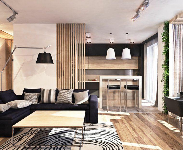 Salon et salle à manger avec éclairage design loft contemporain esprit scandinave