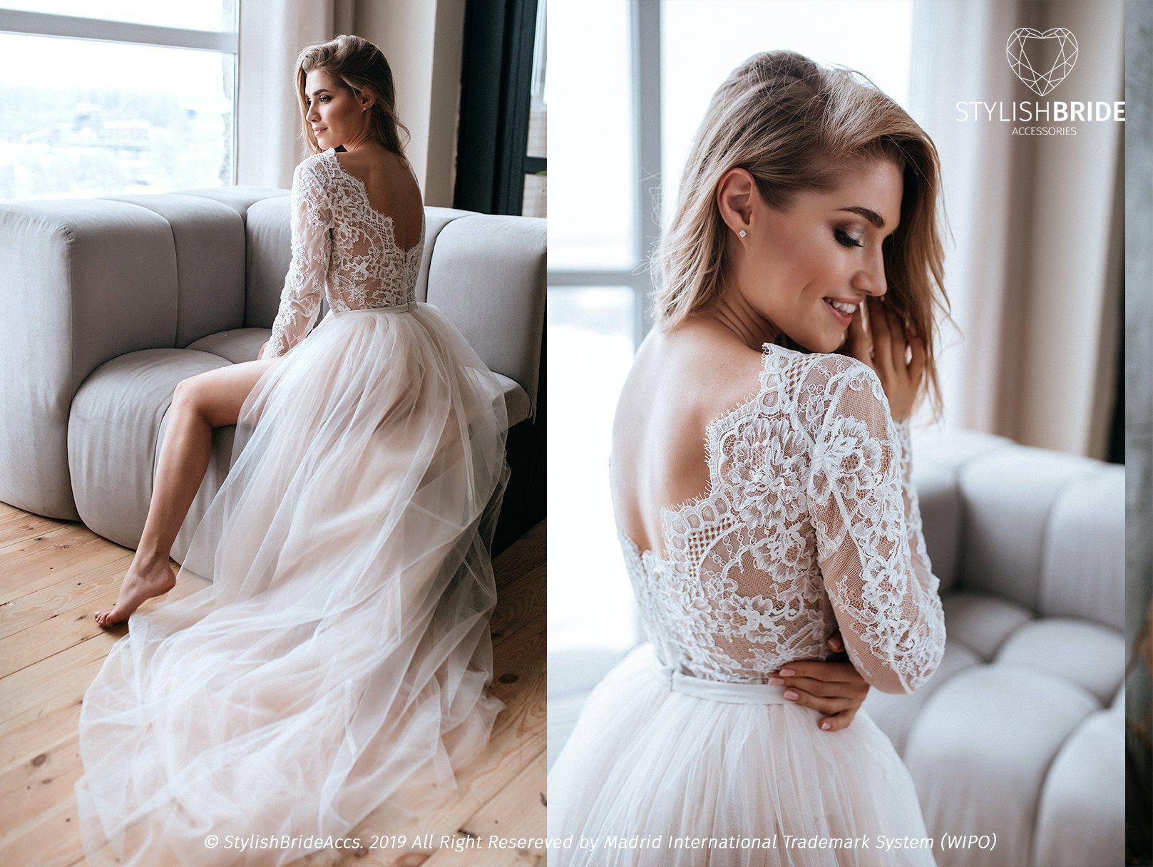Aster Two Piece Wedding Tulle Dress Bodysuit Lace Bodysuit Etsy Bridal Separates Wedding Dress Long Sleeve Wedding Dresses