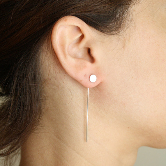 Gold And Silver Ear Jacket Long Front Back Earring By Evasugar