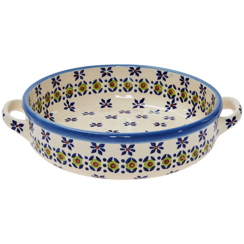 "ceramika wiza"" 23cm blue & cream patterned ceramic oven dish - tk"