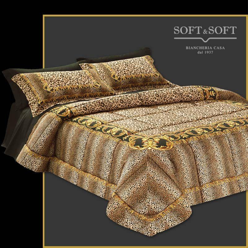 Piumone Matrimoniale Leopardato.Cleopatra Trapunta Leopardata Misura Matrimoniale 270x270 Raso 300