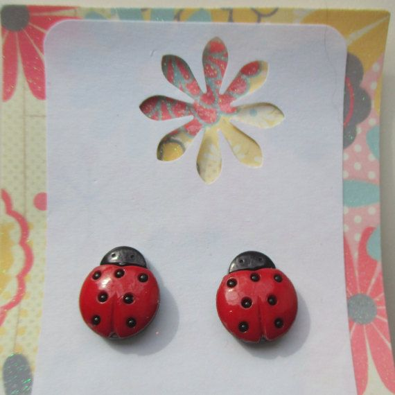 Ladybug Earrings Lady Bug Clip On By Storybookearrings