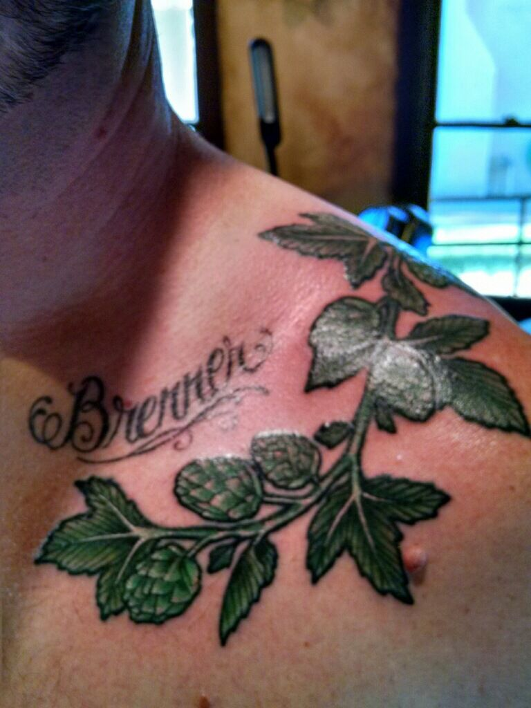 hop vine tattoo home brewery pinterest vine tattoos and tattoo rh pinterest co uk Barley and Hops Tattoo Growing Hops