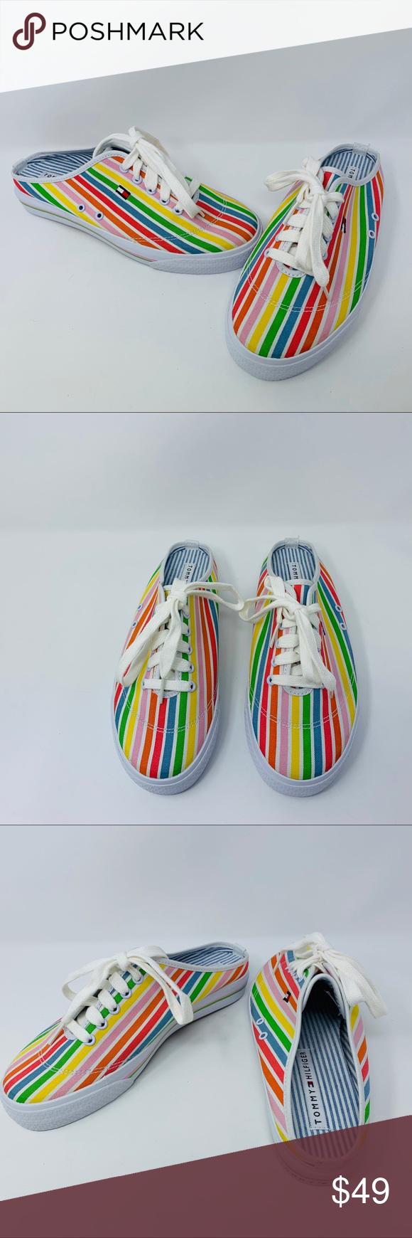 bc4cffc4f1da Tommy Hilfiger Women Slide On Sneakers Rainbow 8.5 Tommy Hilfiger Slide On  Mules Sneakers Slides Multicolor Stripes Size 8 1 2 Shoes - Brand New Tommy  ...
