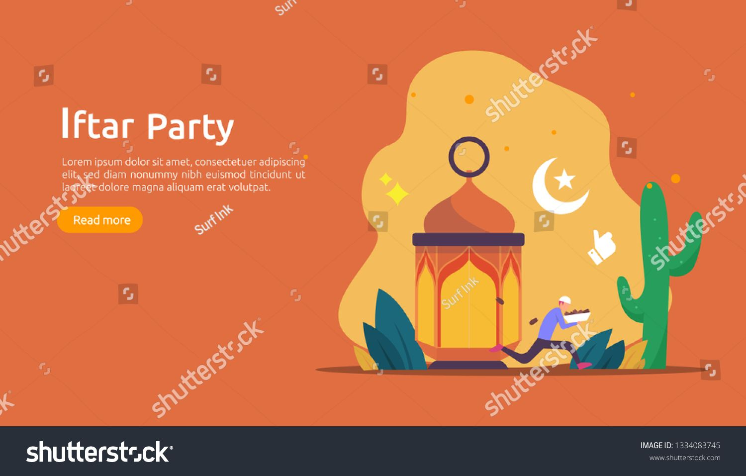 Iftar Eating After Fasting feast party concept. Moslem family dinner on Ramadan Kareem or celebrating Eid with people character. web landing page template, banner, presentation, social or print media ,