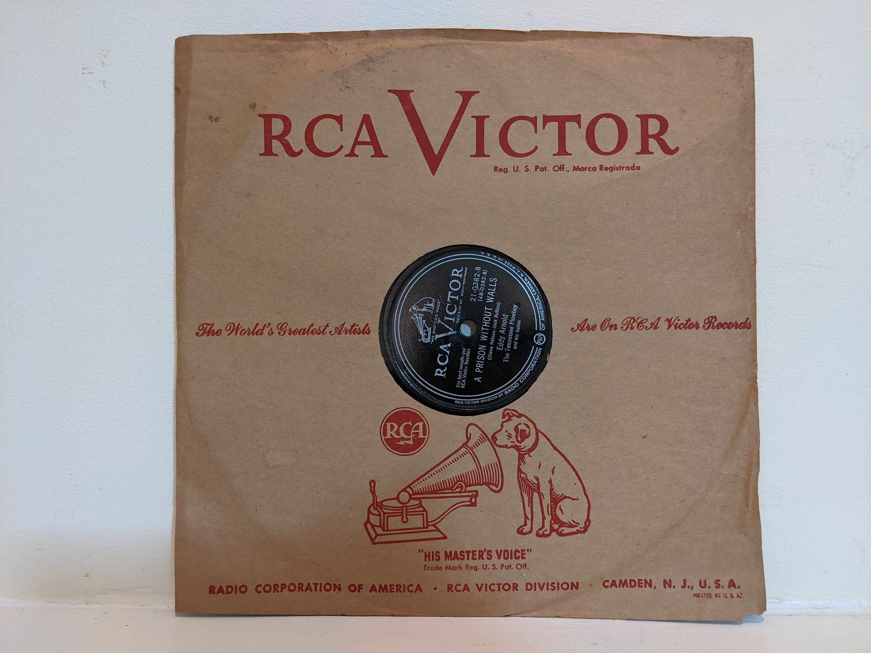 1950 RCA Victor Records Eddy Arnold -The Lovebug Itch 21-0382 A Prison Without Walls