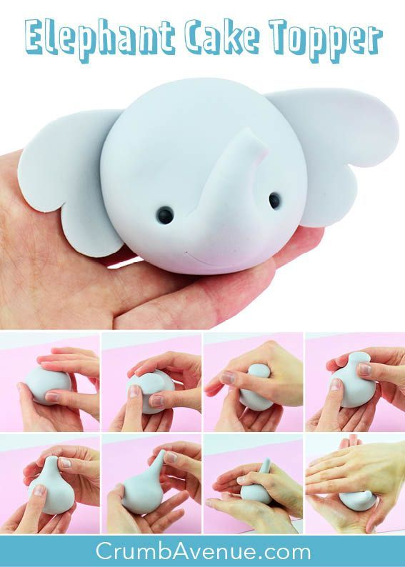 Cute Elephant Cake Topper TUTORIAL with TEMPLATES -   14 cake Decorating baby ideas