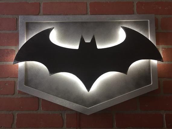 New Illuminated Led Arkham Knight Batman Batsignal Comicbook Etsy In 2020 Batman Room Batman Diy On A Budget