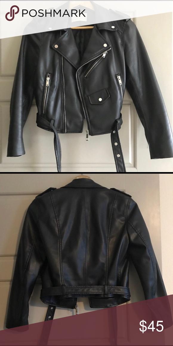 3b6d87313 Zara Faux Leather Moto Biker Jacket XS Zara Faux Leather Moto Biker ...
