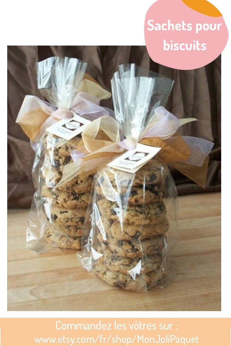 Sachet Biscuit Noel 25 Clear treat bags, Cellophane cookie bags, Wedding favor bags
