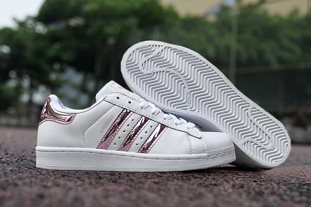 Ladies Adidas Superstar 3d White Stripe Pink Sneakers
