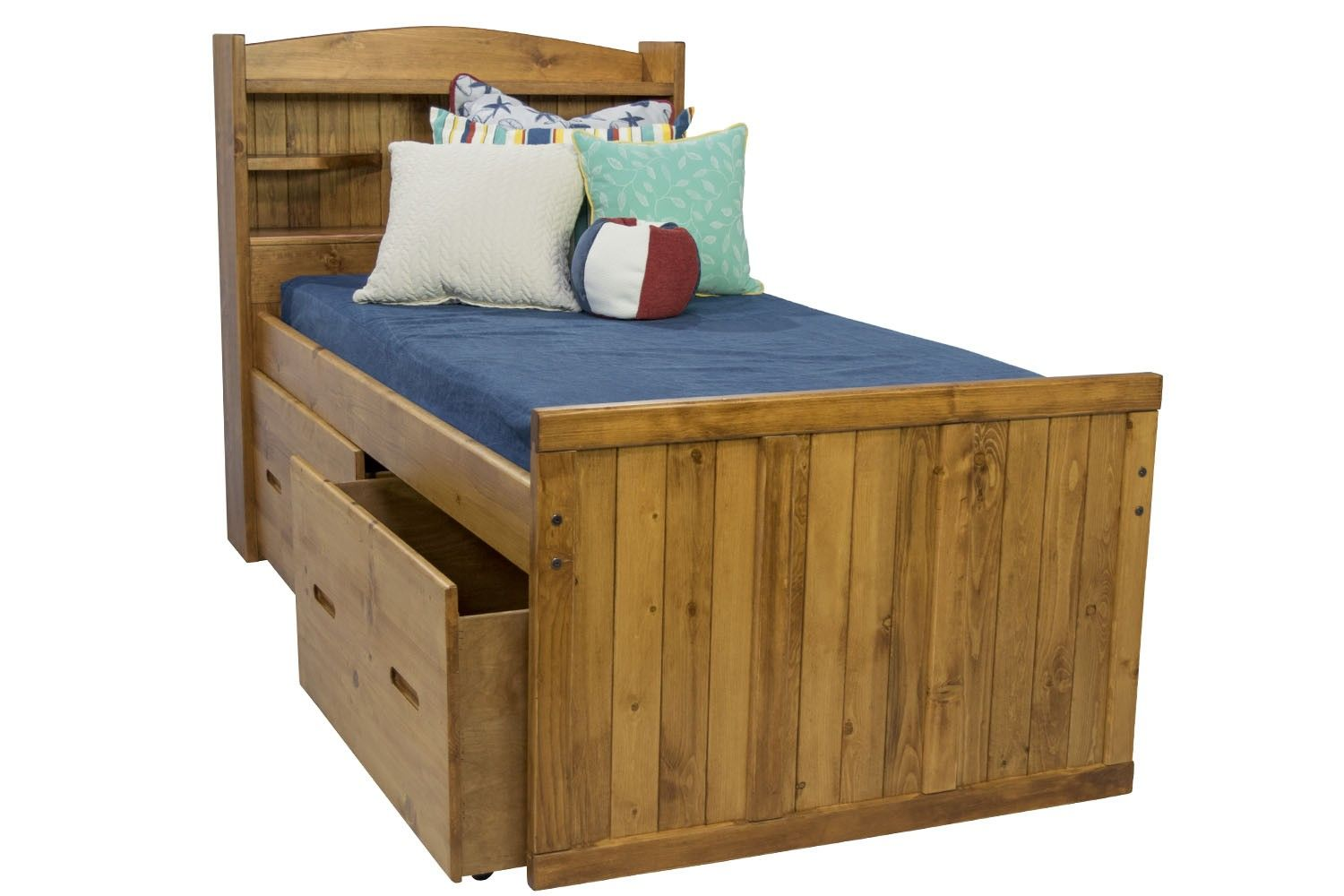 Young Pioneer Twin Bookcase Bed With 15 Quot Storage Drawers