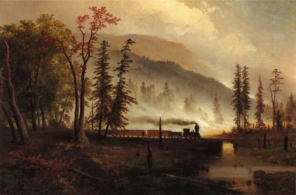 Scene On Bear Creek Woods On Fire By Gustav Grunewald 1848 A