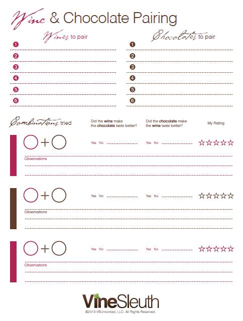 chocolate tasting score sheet
