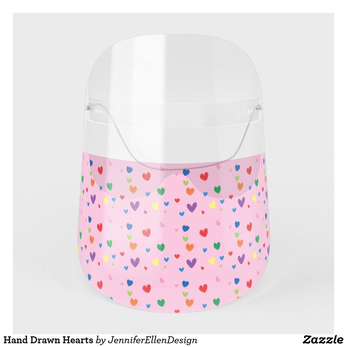 Hand Drawn Hearts Face Shield | Zazzle.com