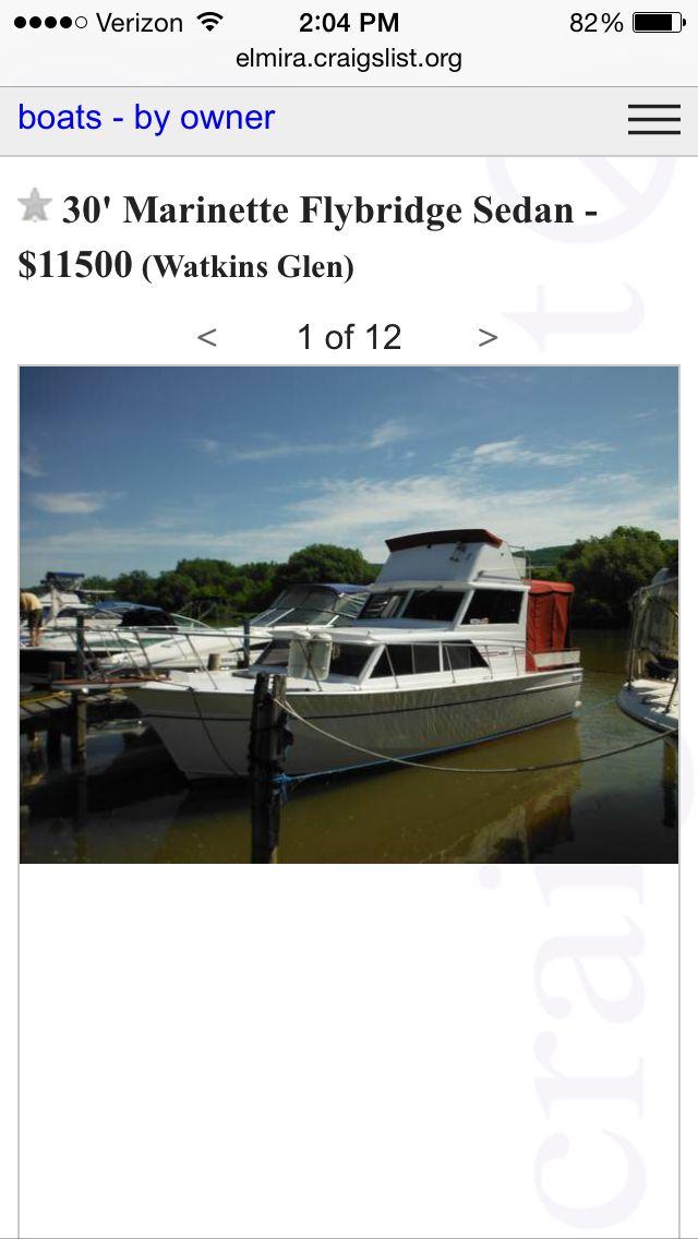 30 Marinette Flybridge Cruiser Watkins Glenn Ny 11 500 Http Elmira Craigslist Org Boa 4934334089 Html Cruiser Boat Boat Stuff Boat