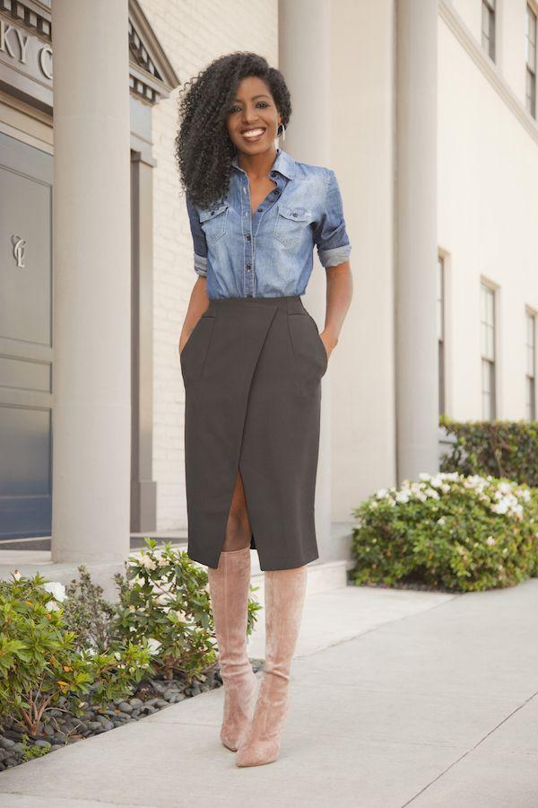 Boyfriend Denim Shirt + Front Slit Wrapover Skirt
