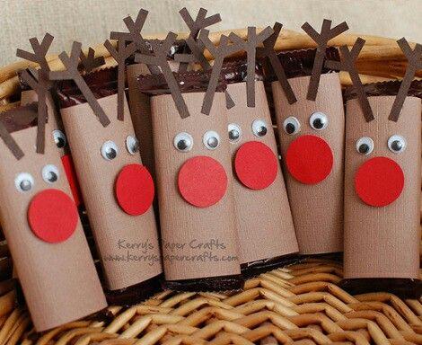 Renos navide os realizados con el cart n del papel for Manualidades souvenirs navidenos