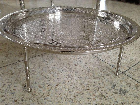 Moroccan Silver Round 3 legged Tea Pots Tray Table by ArtMorocco