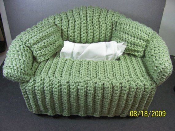 Green Sofa Tissue Box Cover Handmade Crochet Knitting