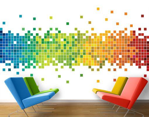 Fleece Wall Mural Pixel Rainbow Wallpaper Wall art Wall decor ...