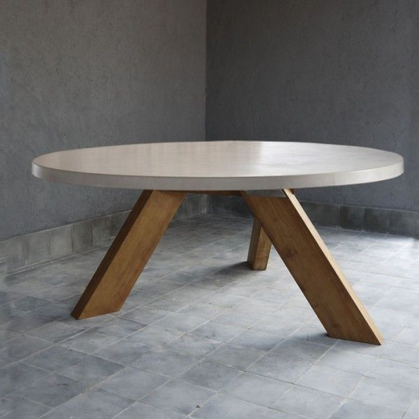 Round Outdoor Concrete Table W Reclaimed Teak V Style Base Round Dining Table Modern Round Concrete Dining Table Concrete Table