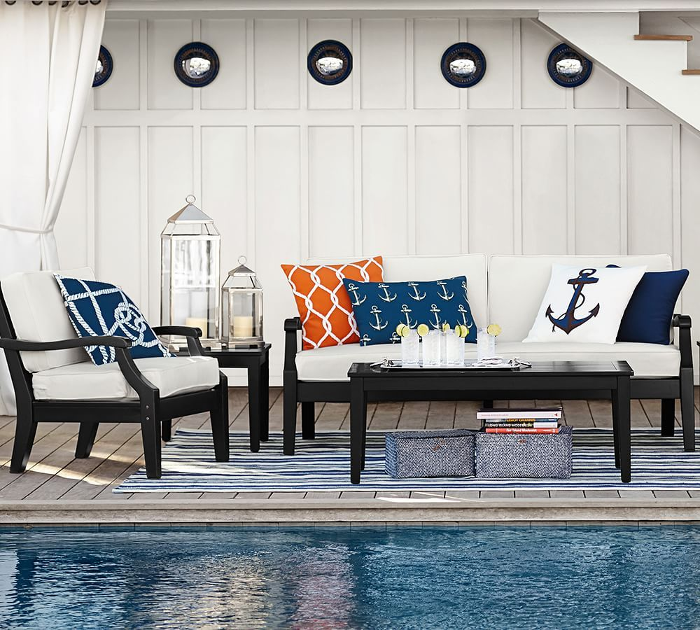 Hampstead Painted Sofa, Black | Navy pillows, Coastal and Patios